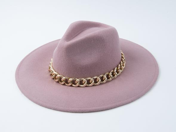 Lucca Couture Paco Mauve Chunky Chain Fedora