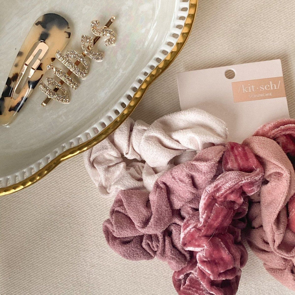 Kitsch Velvet Scrunchies - Blush/Mauve 5 pack