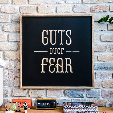 Guts over Fear - wooden poster