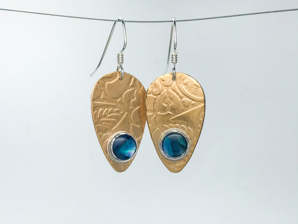 Blue Paua Shell Guitar Pick Earrings