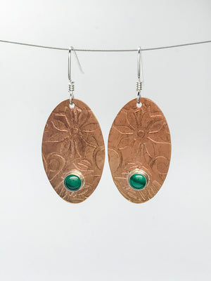 Malachite Copper penny Earrings