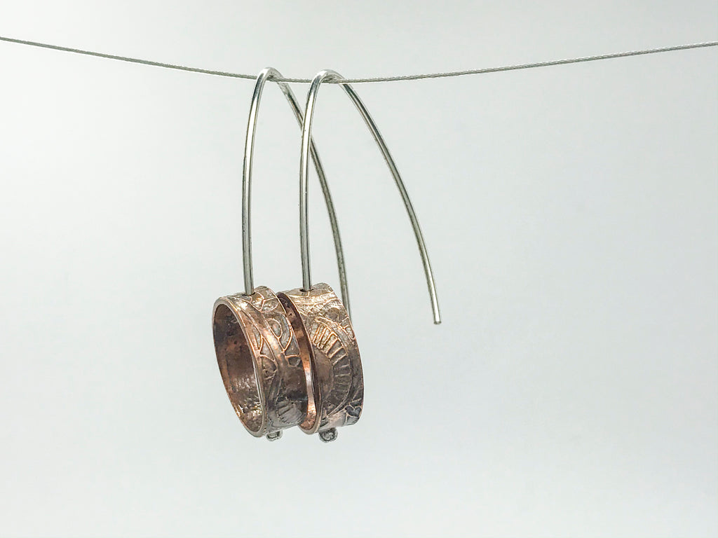 Pattern #2 Recycled copper pipe and silver Earrings