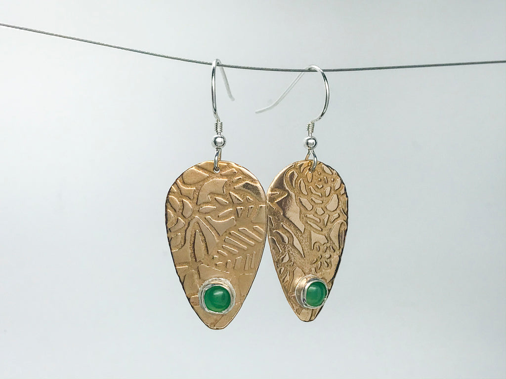 Chrysoprase Guitar Pick Earrings