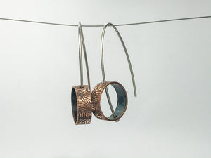 Pattern #3 Recycled copper pipe and silver Earrings
