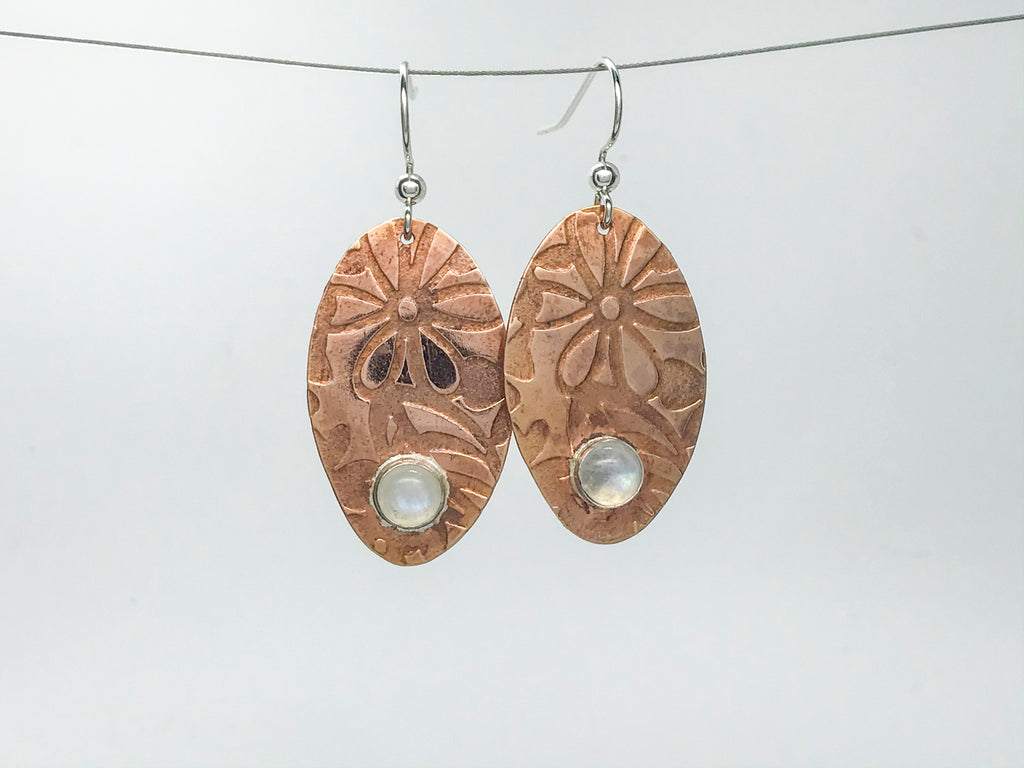 Rainbow Moonstone Copper penny Earrings