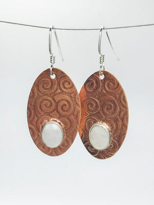 Mother of pearl Copper penny Earrings