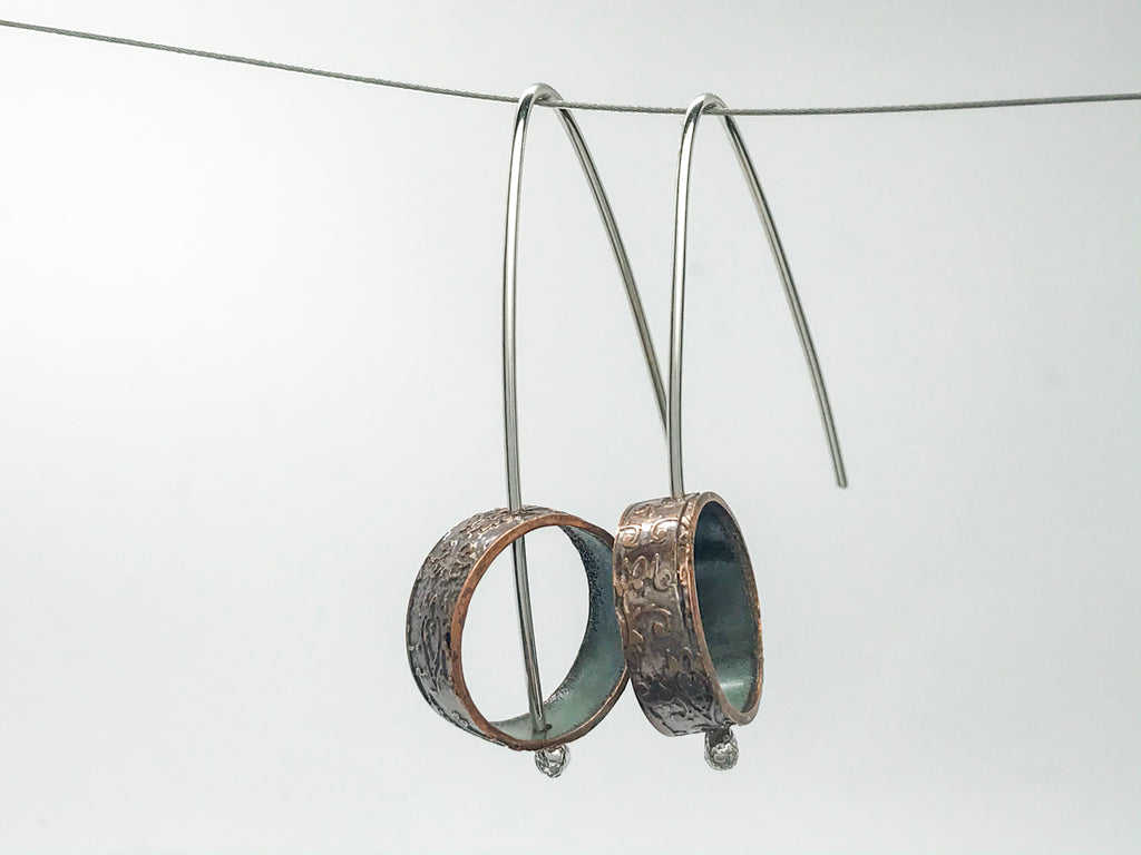 Pattern #4 Recycled copper pipe and silver Earrings