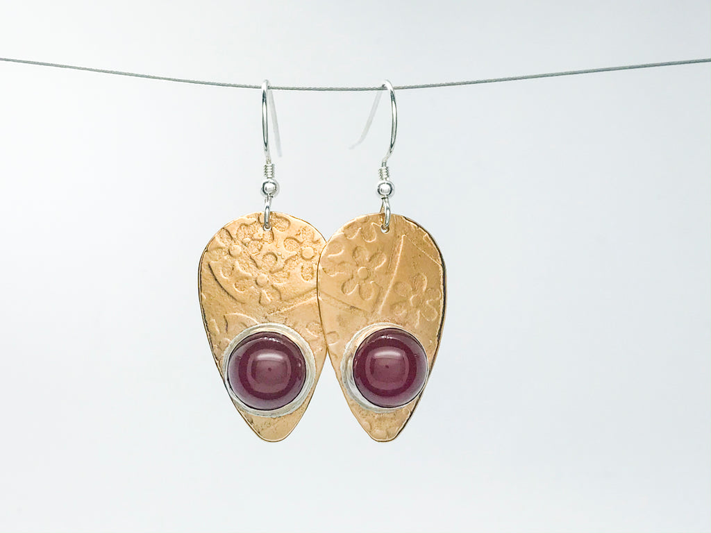 Carnelian Guitar Pick Earrings