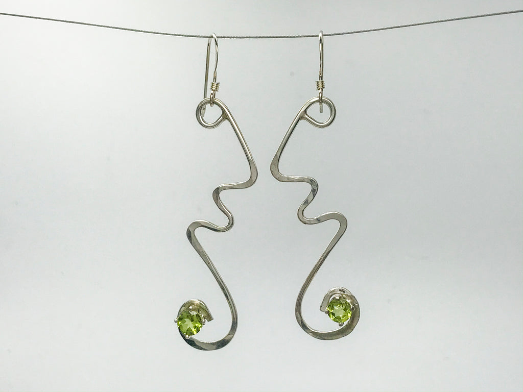 Peridot squiggle earrings