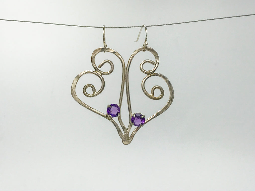 Amethyst Silver squiggle earrings