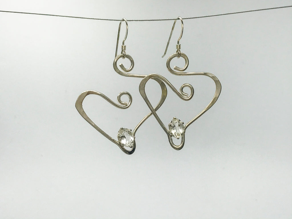 White Topaz Silver squiggle earrings
