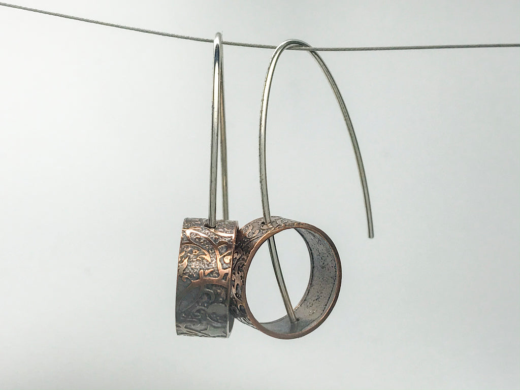 Recycled copper pipe and silver Earrings