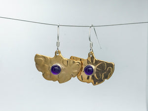 Amethyst Ginkgo leaf Earrings