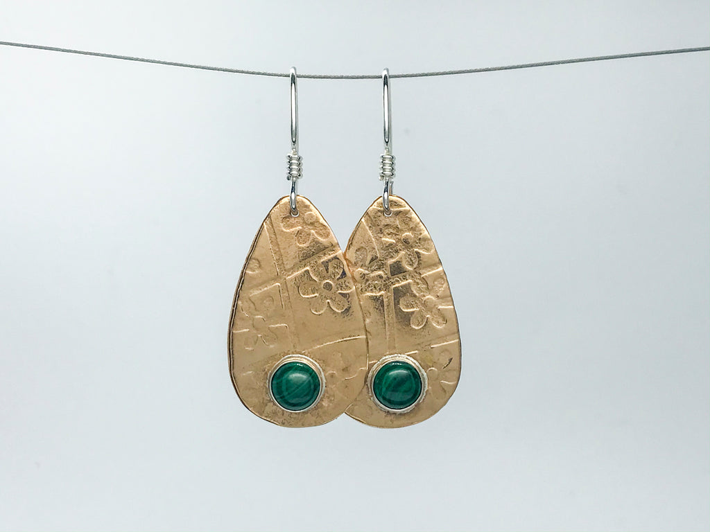Malachite Guitar Pick Earrings