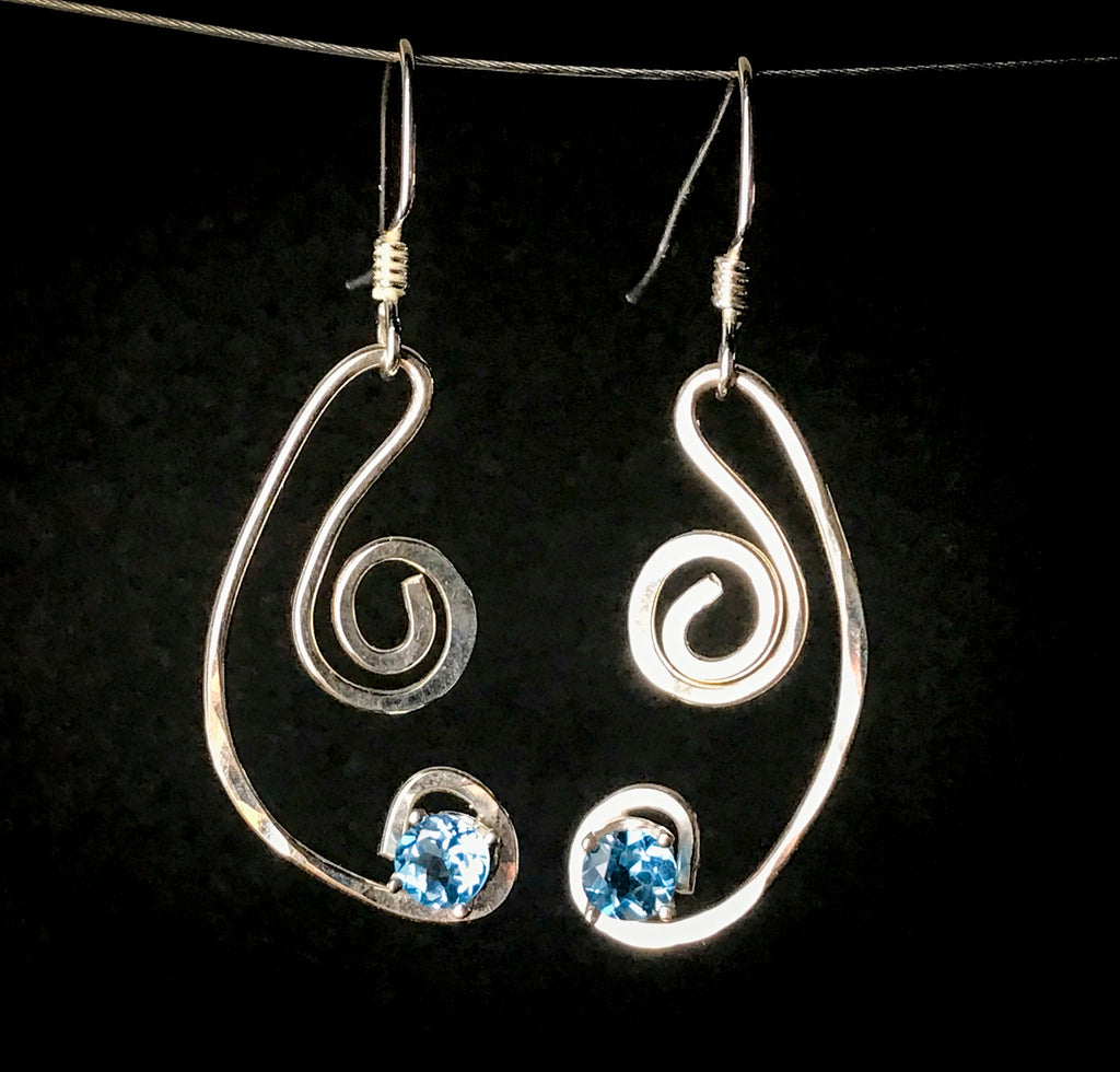 Blue topaz squiggle earrings