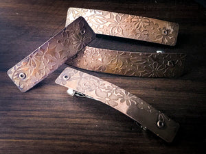 Copper Barrettes - flower patch