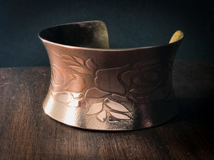 Anticlastic Cuff Bracelet- Roses in Copper