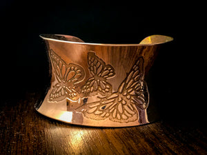 Anticlastic Cuff Bracelet-  Butterflys in copper