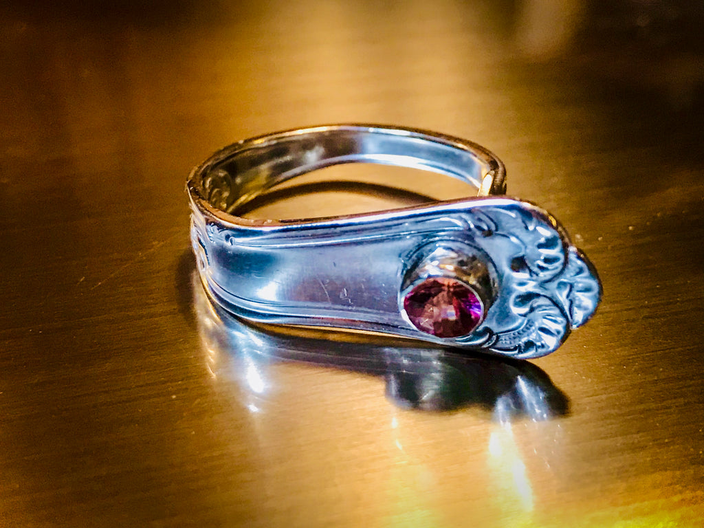 Upcycled Pink Tourmaline Spoon ring