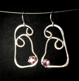 Light pink tourmaline squiggle earrings
