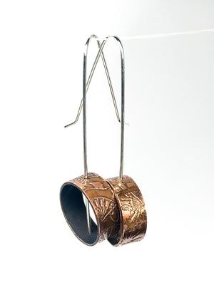 Copper Pipe Earrings - fan design