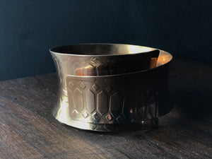 Wide bronze crown bangle