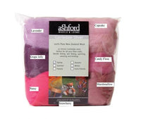 Ashford Corriedale Fibre - 100g mixed colours