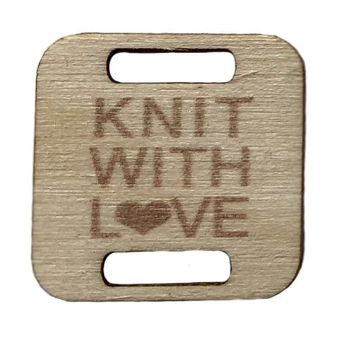 Knit with Love wooden Tag