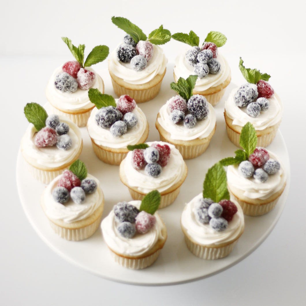 Sugared Berry Cupcakes