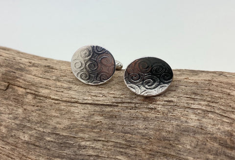 Silver cufflinks decorative swirl