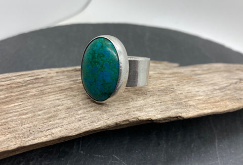 Chrysocolla large silver ring
