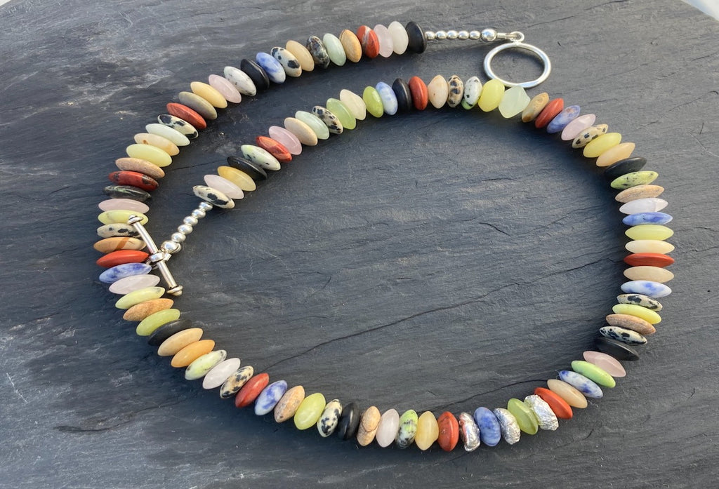 multicoloured mixed stone necklace