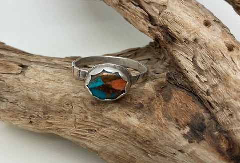 Blue Copper Oyster  Turquoise ring