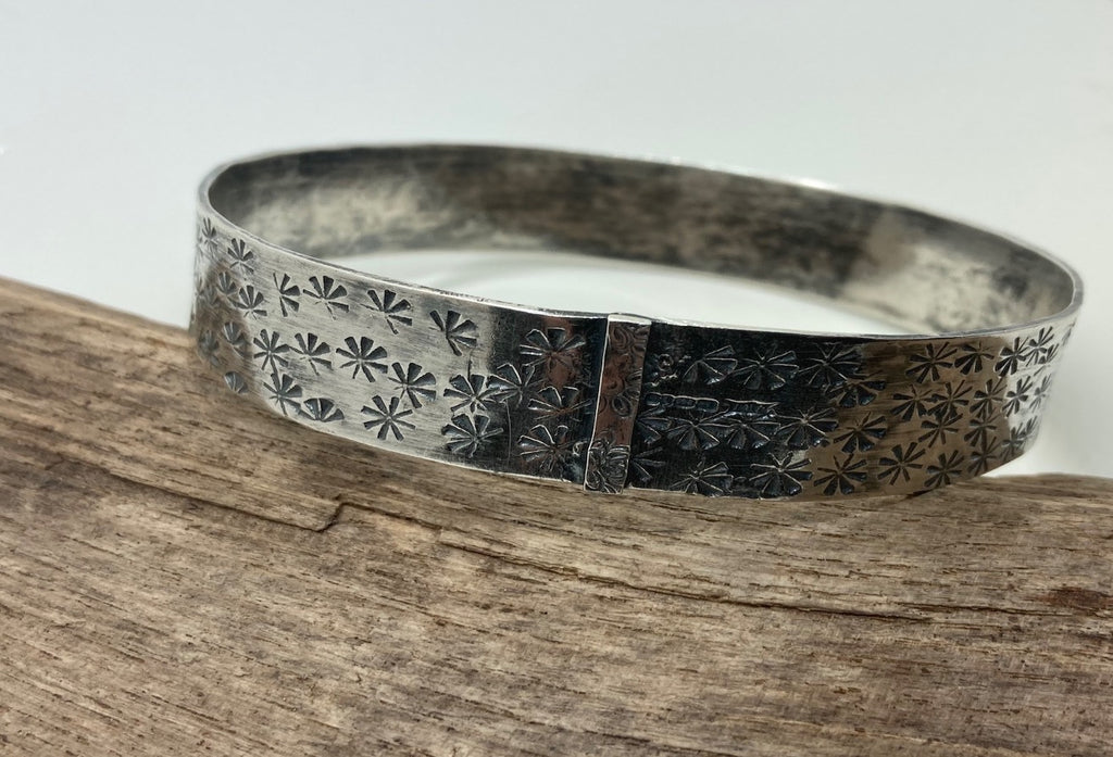 wide silver stamped bangle