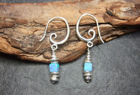 Blue Opal short earrings