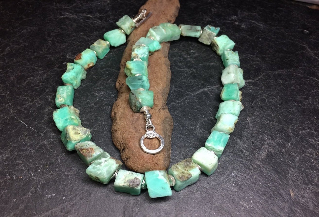 Chrysoprase cube necklace