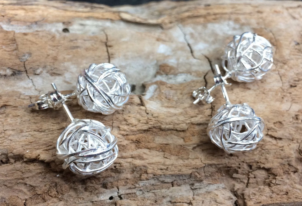 Silver stud nest earrings