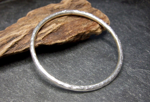 Sterling silver heavy textured bangle