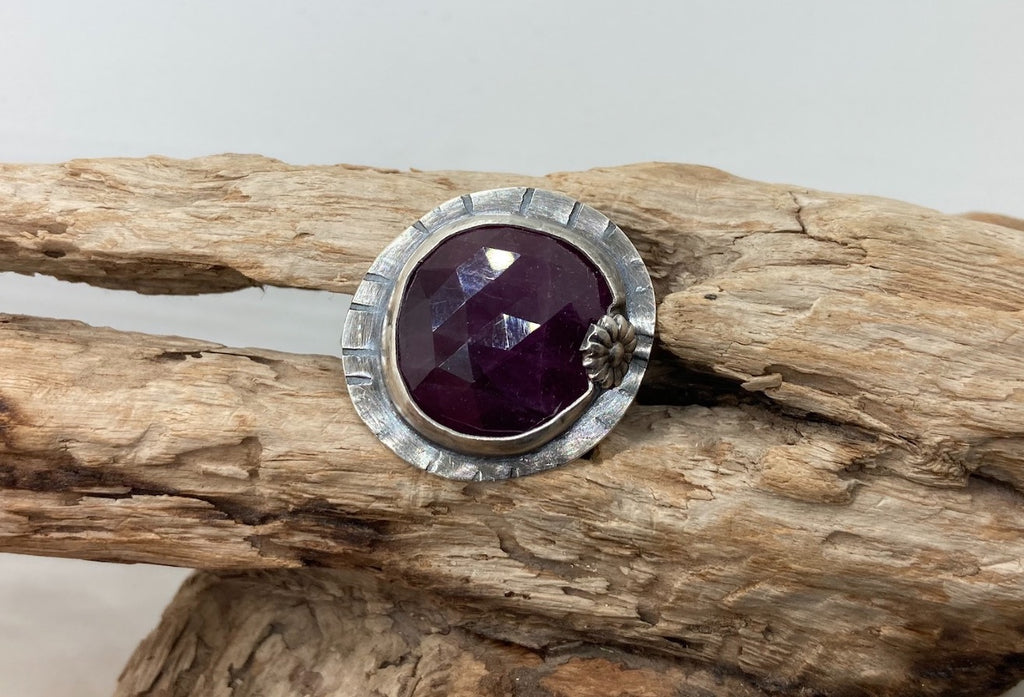 Ruby rose cut silver ring