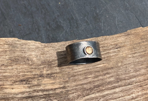 Oxidised Silver and Gold ring