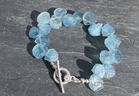 Aquamarine bracelet unpolished