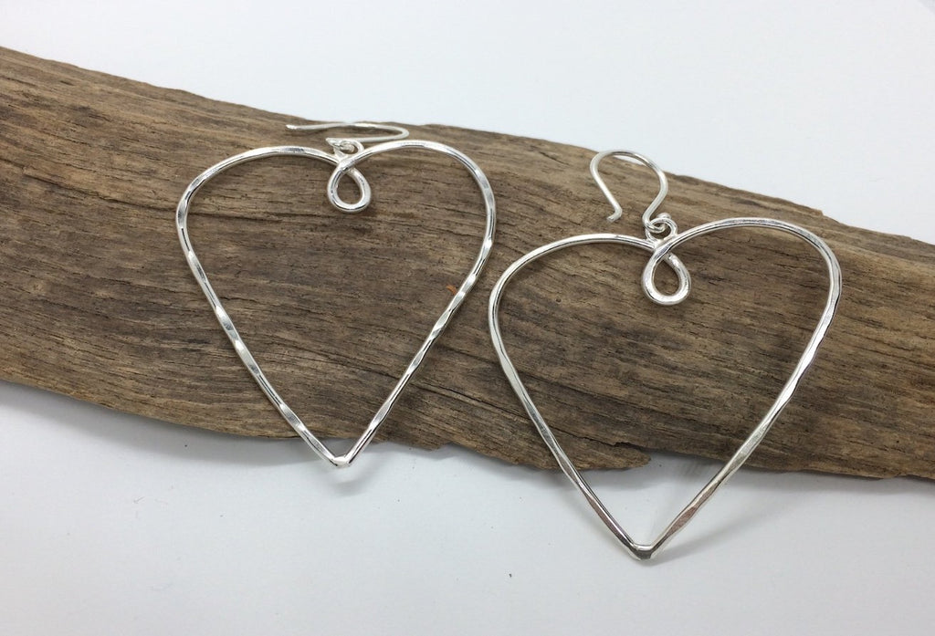 Large Sterling silver heart earrings
