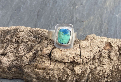 Chrysocolla handmade Serling silver ring