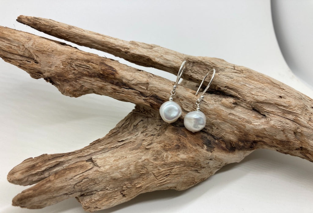 Keshi freshwater pearl earrings