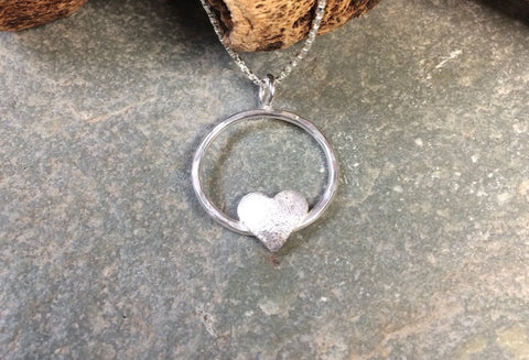 Sterling silver Heart in a circle pendant