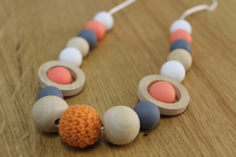 Orange Silicone & Wood Bead Necklace