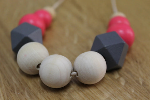 PInk Grey & Natural Wood Bead Necklace
