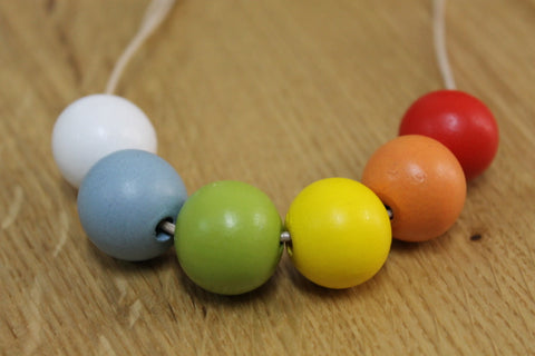 Rainbow Round Wood Bead Necklace