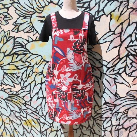 Red Flower Overall Dress