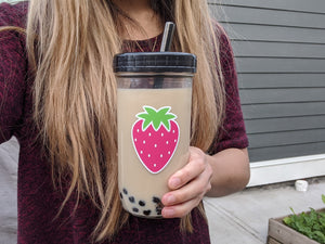 2 PACK: Reusable Bubble Tea Cups (Strawberry/Pineapple)